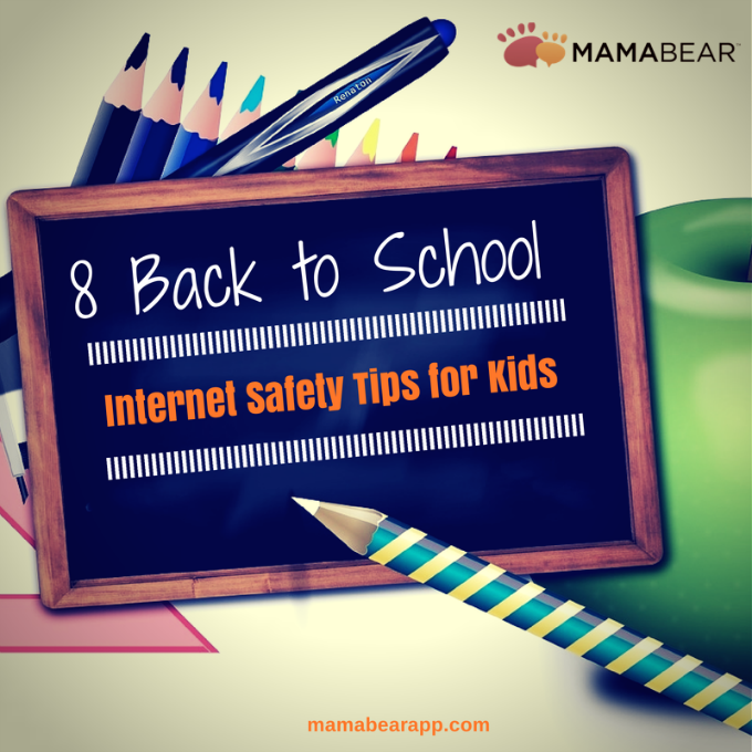 Internet Safety Tips for Kids. Here are eight important online safety conversations to have with your child before the first bell rings. | MamaBear