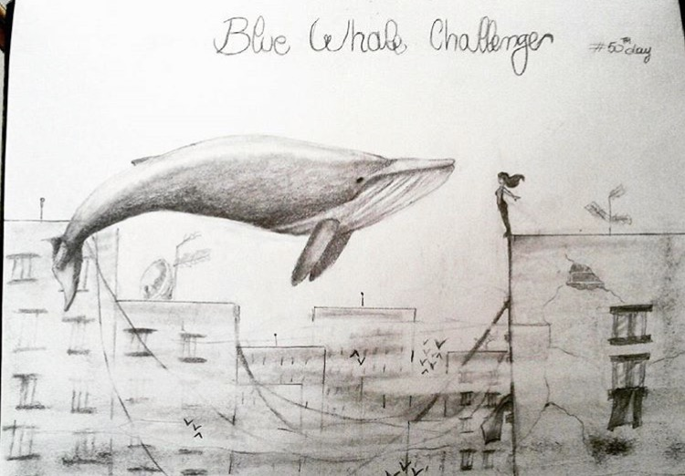 Drawing of Blue Whale Challenge and girl on edge of tall building