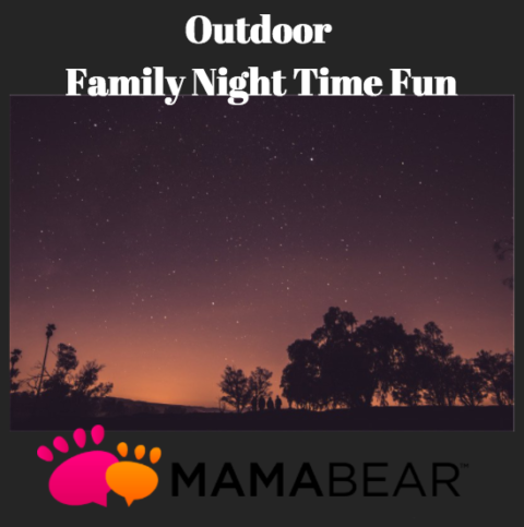 Night time sky with Title Outdoor Family Night Time Fun